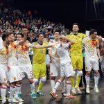 フットサルユーロ2016の優勝を喜ぶフットサルスペイン代表の選手たち