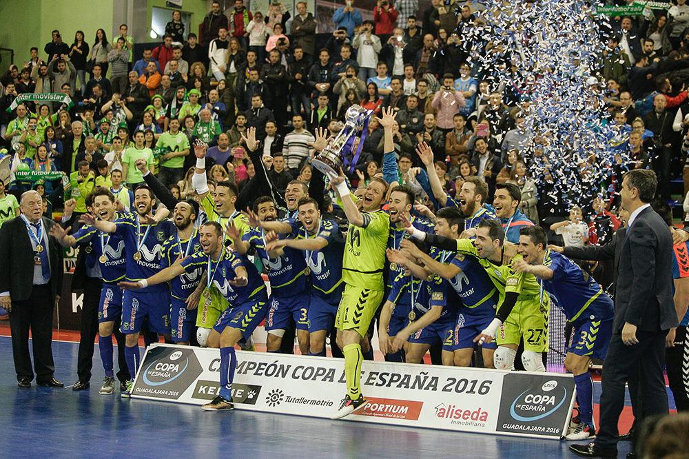 スペインカップ・グアダラハラ2016で優勝し喜ぶモビスター・インテルの選手たち